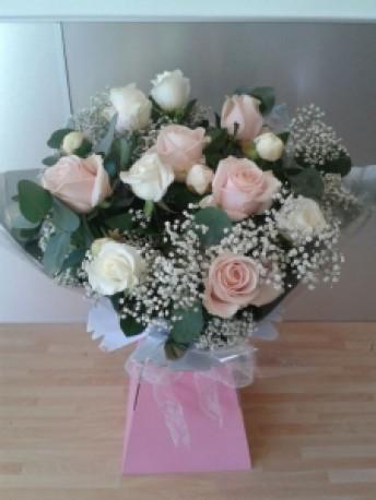 Dozen Pink & Cream Roses