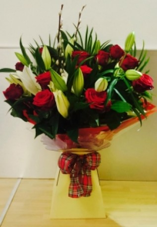12 Red Roses and Lilies